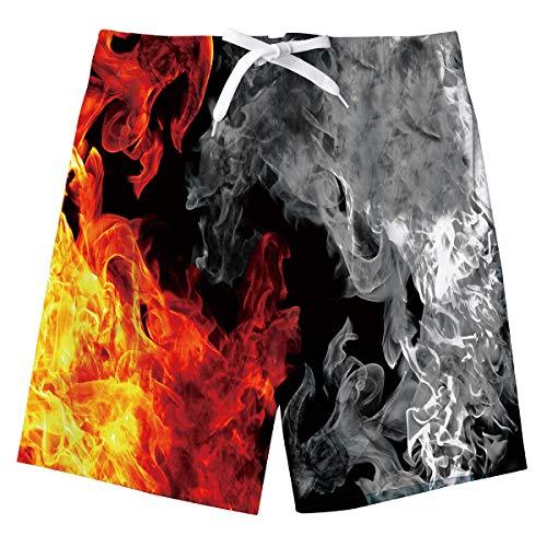Jungs Feuer Sweatpants Shorts 3D Flamme Lustige Sommer Strand Shorts Hosen Schwimmen Badeshorts Kinder Badeanzug mit Taschen Rot Grau 8-10 Jahre
