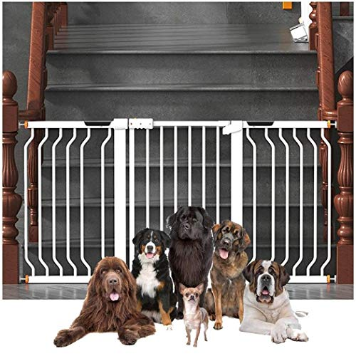 Baby Gate Guardrail Child Fence Porte Pliante Garde-Corps Escalier Baby Safety Door Baby Gate with Dog Door Bar Dual Lock Self Closing (Color: White, Size: 188-195cm)