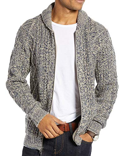 Ryannology Mens Cardigan Sweater Shawl Neck Casual Zip Up Cable Knit Lightweight Sweater Jacket Outerwear Grey