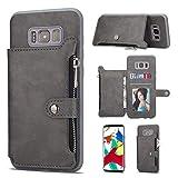 Galaxy S8 バックケース, Zeebox® 新品 高級PUレザー 薄型 財布型 バック電話ケース Samsung Galaxy S8 対応, カードポケット収納, グレー