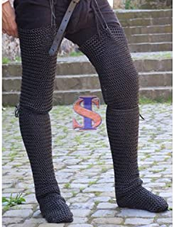 Souvenir India Legging Pair /Chausses Chainmail Medieval Armour 10mm Butted Zink Finish