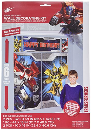 Transformers Scene Setter Wall Decorations Kit - Kids Birthday and Party Supplies Decoration