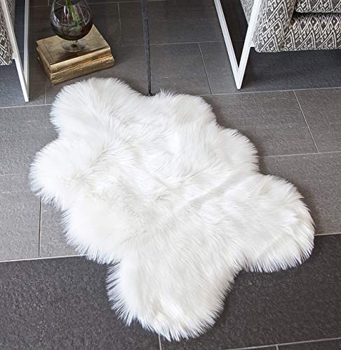 Faux Sheepskin Fur Area Rug - 2x3ft - Pretty Soft Fluffy Shaggy White Sheep Skin Throw Cover to Use on Chair Sofa Couch or Bedside Nursery Closet and Bathroom Floor