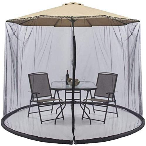 Outdoor Patio Umbrella Mesh Mosquito Net,with Zipper Adjustable Large Umbrella Canopy Curtains Hanging Tent for Garden Umbrella Table Party,Black(Onlynetcover)
