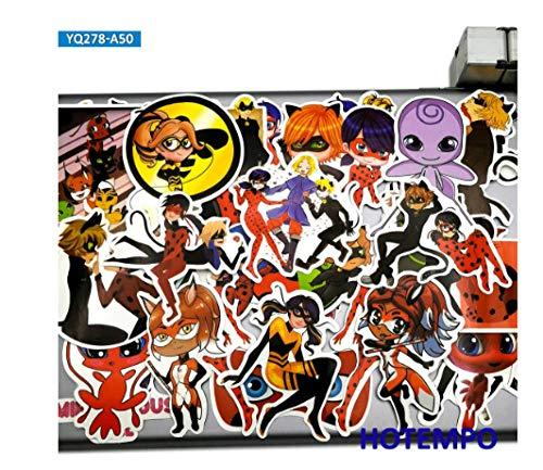 votgl 50pcs Cute Anime Ladybug Girl Cat Noir Stickers Juguetes para niños Scrapbook Stationery Teléfono móvil Laptop Pad Cartoon Decal Sticker 10/30