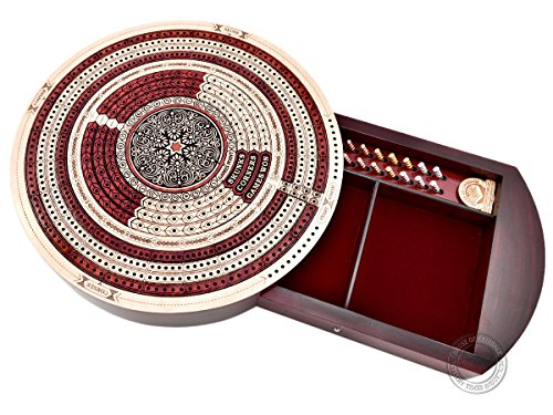 """House of Cribbage - 10"""" Round Shape 4 Tracks Continuous Cribbage Board Maple / Bloodwood - Push Drawer & Place for Skunks, Corners & Won Games"""
