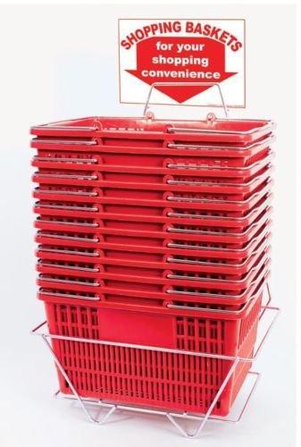 레드 플라스틱 쇼핑 바스켓 내성 16 X 12.5 X 9인치 - 12세트
