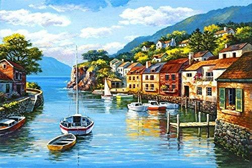 Diamantmalerei 5DDIY Volldiamant rundes Diamantwasser Flussboot 60X40cm Handwerk-perfekte Entspannung und Hauswanddekoration