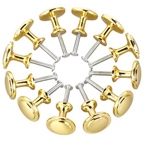 Bocotoer Tiradores redondos para cajones de cocina, 25 mm, tono dorado, paquete de 12
