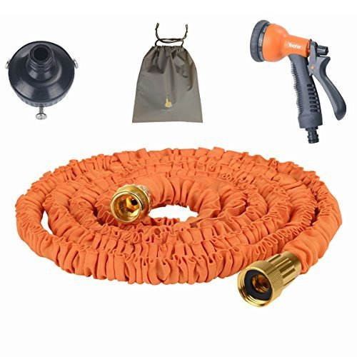 (Youfo) Yoofor extend hose 2016 enhanced version of 2.5m ¨ 7.5m extending to 3 times 8 pattern watering nozzle housed all four colors orange pouch