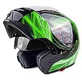 xxl snowmobile helmet modular - Typhoon G339 Modular Motorcycle Helmet DOT Dual Visor Full Face Flip-up - Green Large