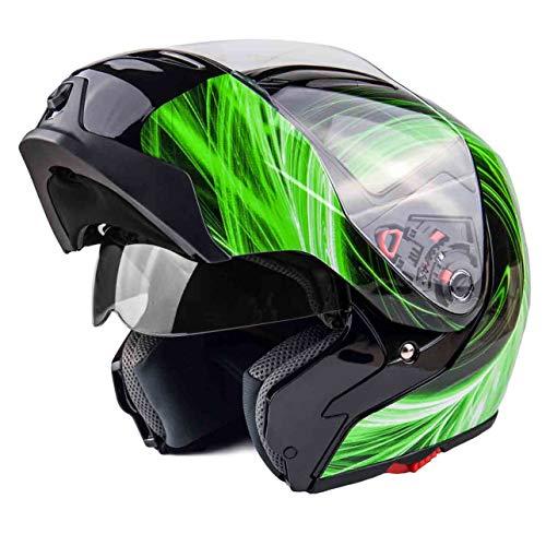 Typhoon G339 Modular Motorcycle Helmet DOT Dual Visor Full Face Flip-up - Green Large