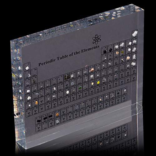 Periodensystem aus Acryl mit echten Elementen, 15 x 11 x 2 cm, Periodensystem mit Elementen, Anzeige von chemischen Elementen, Periodensystem, Lehrtafel, Schultag, Geburtstagsgeschenke