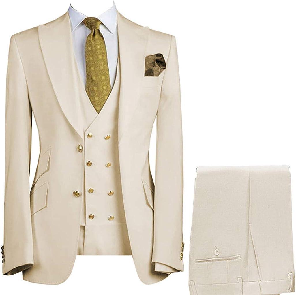Mens Beige Ivory 3-Pieces Peak Lapel Tuxedo Prom Party Slim Fit Jacket Blazer Pant Vest Suit