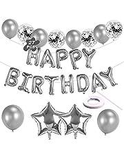Grattis på födelsedagen ballongbanderoll, silver självuppblåsande födelsedagsballonger med folieballonger/konfettiballonger/band för barn män kvinnor 1:a 18:e 21:a 30:e 40:e födelsedagsfestdekorationer