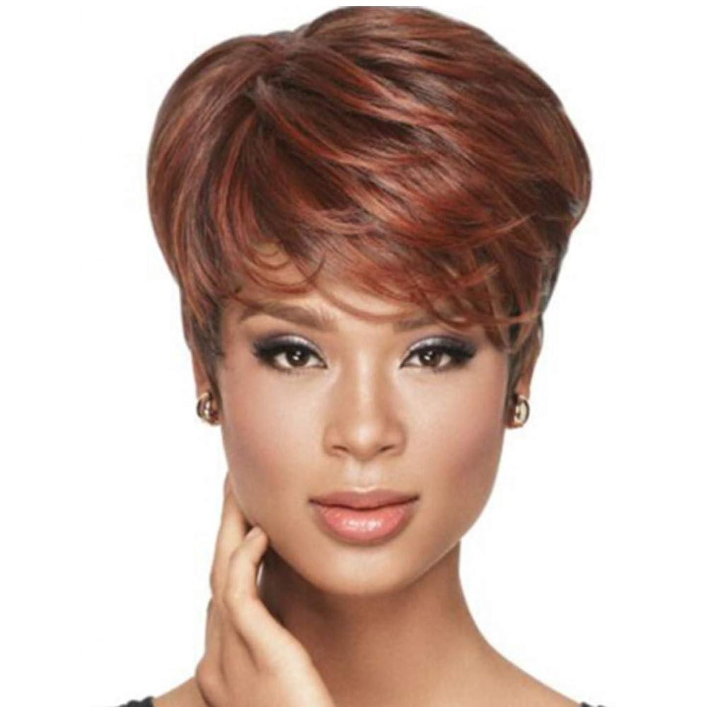サミュエル努力するお世話になった女性合成短髪かつら180%密度毛耐熱アフロウィッグ赤褐色22cm