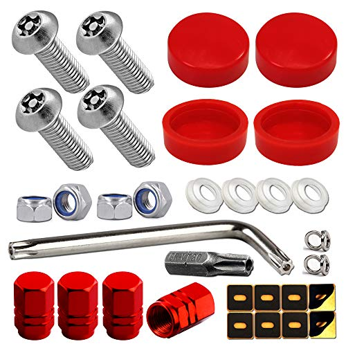 Aootf Red License Plate Screws Caps- Stainless Steel Anti Theft Car Tag Bolts Nuts for Fastening Holder Frame Cover, M6 (1/4') Security Mount Hardware, Rattle Proof Pads, Gift- Tire Valve Caps