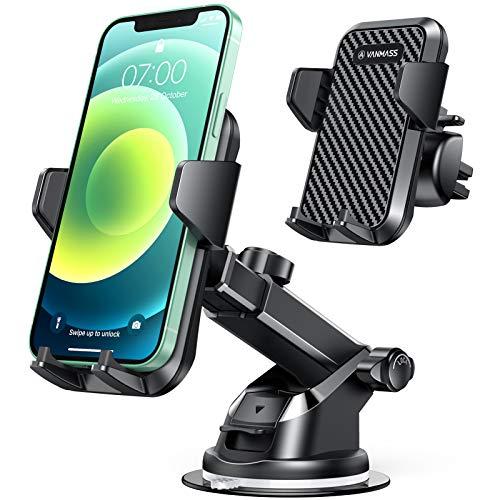 VANMASS Handyhalterung Auto Handyhalter fürs Auto 3 in 1 Kfz Handyhalterung Lüftung & Saugnapf Halter 100% Silikon Schutz Smartphone Halterung Auto für iPhone Samsung Huawei Mate LG