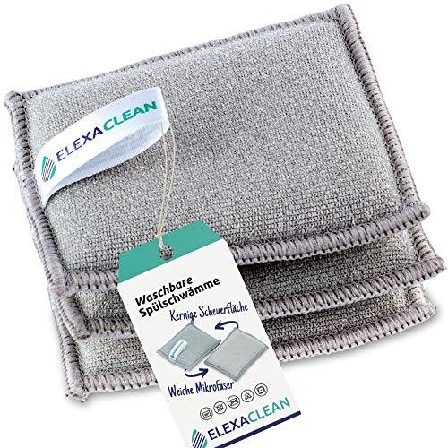 ELEXACLEAN Spülschwamm Topfreiniger Schwämme (3er Set, 10x8 cm, Grau) waschbar zum wiederverwenden, mit Mikrofaser