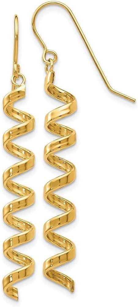 14k Yellow Gold Spiral Drop Dangle Chandelier Earrings Fine Jewelry For Women Gifts For Her