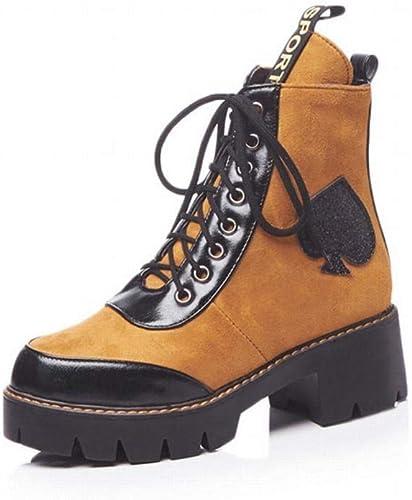 ZHRUI Stiefel para damen - Stiefel Gruesas de otoño e Invierno Botines Puntiagudos Stiefel Martin de tacón Alto Stiefel para damen 34-43 (Farbe   braun, tamaño   41)