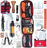 BAYTIZ | Kit de Supervivencia + Primeros Auxilios + Bolsa Militar - Accesorios Multifuncionales para Senderismo Camping Desastres Defensa Personal Filtro Agua Gadgets Originales Profesional Niño Suiza
