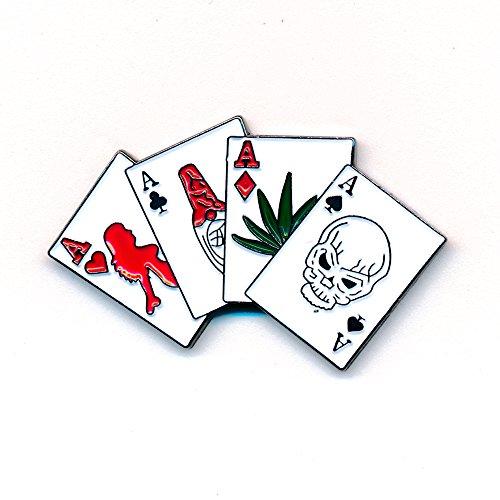 Four Aces Vier Asse Rockabilly Gothic Drogen Skull Button Pin Anstecker 0185