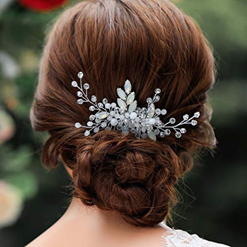 Aukmla Bride Wedding Hair Combs Piece H Opal Flower Crystal Outlet Spring new work SALE