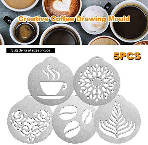 4 plantillas de acero inoxidable para café en forma de corazón barista cappuccino, para decoración de pasteles, decoración de pasteles