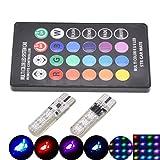 TUINCYN T10 W5W 194 Lampadine a LED 6 SMD 5050 a colore cangiante RGB con telecomando wireless per auto, per luci dell'abitacolo, luci di posizione laterali, luci targa (1 set)