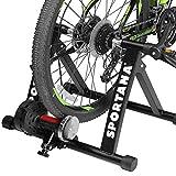 Sportana Home Trainer vélo entraîneur de vélo Max. 150kg Noir Pliable Acier 26' à 28' Support 6 Niveaux de résistance entraînement vélo Frein