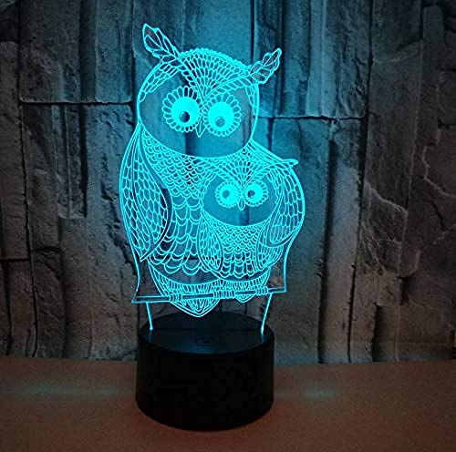 Luz de noche 3D, lámpara de ilusión óptica 7 colores cambiantes con USB, interruptor táctil, decoración de dormitorio, regalos de cumpleaños para niños y adultos (con mando a distancia)