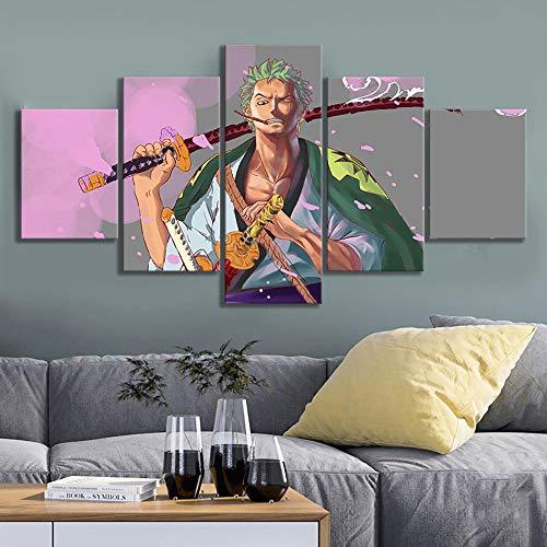SZQY Kunstdrucke Moderne Malerei Hintergrund Dekoration 5 Teiliges Wandbild Poster Für Kinderzimmer Wandkunst Leinwand 150X80Cm Mit Rahmen One Piece Zoro Anime Cartoon