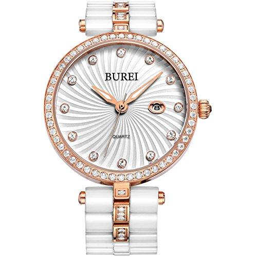 BUREI Orologio da Polso Donna Calendario Data e Cassa in Diamanti con Banda Ceramica