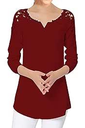 Luckycat Camisa Elegante de Mujer con Bordado Encaje Blusa Manga Larga Pullover Ligero V Cuello para Primavera Verano Otoño
