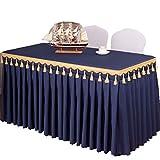 ISSHE Mantel del Poliester Color Sólido,Falda De Mesa para Hotel Iglesias Y Los Budistas Banquetes Restaurante Tela De Mesa Rectangular Lavable Azul Oscuro XL