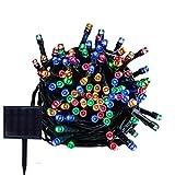 RPGT ソーラーLEDイルミネーションライト 33m 300LED ソーラーライトストリング USB充電 防水 8ライトモード ソーラー充電式 クリスマスガーデン装飾ライトストリング 屋外、クリスマスツリー、ガーデン、パス、ウェディングパーティデコレーション (マルチカラー)