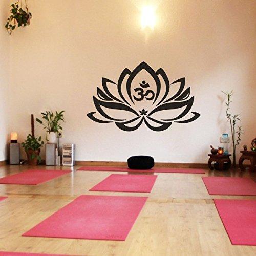 Wand-Tattoo Lotus-Blume mit Om-Zeichen, Yoga, Vinyl, Mandala-Kunst, Vinyl, schwarz, 35'h x57'w