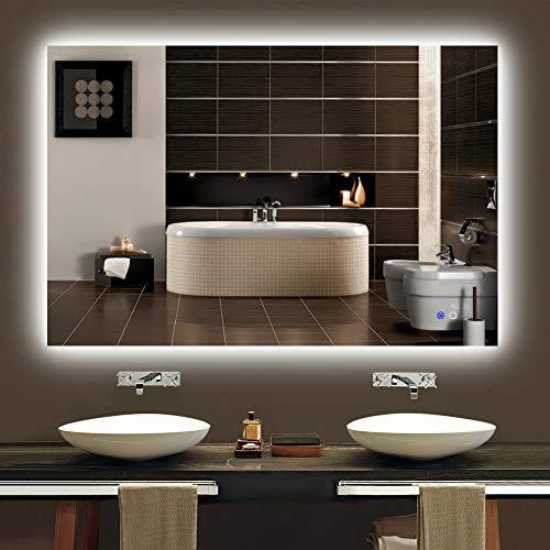 "Keonjinn 48"" x 32"" LED Backlit Mirror Bathroom Dimmable Makeup Mirror Anti-Fog -"
