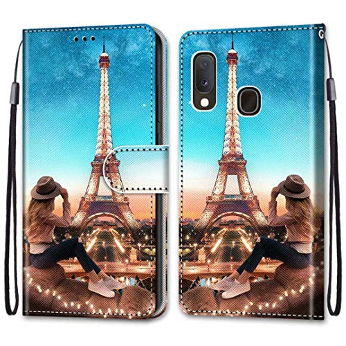 anzeal Galaxy A202F Girl Tower Wallet Case, Wrist Strap [Card] PU Leather Painted Wallet Protection Case Magnetic Stand Flip Case Cover for Samsung Galaxy A202F Style-16