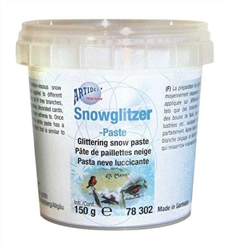 Artidee CREARTEC Snow Glitter – Pasta – Autentica pasta di neve con vera particelle d'argento, perfetta per decorazioni natalizie – 150 ml – Made in Germany
