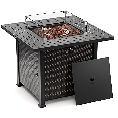 32 Inch Outdoor Propane Gas Fire Pit Table , Volcanic Rock&Glass Wind Guard, CSA Approved, Stove in Winter, Table in Summer
