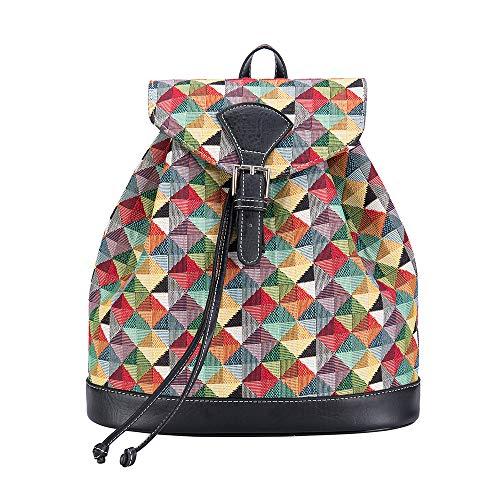 Signare Gobelin-Modischer Rucksack für Frauen mit farbenfrohen geometrischen Formen Design (RUCK-MTRI)