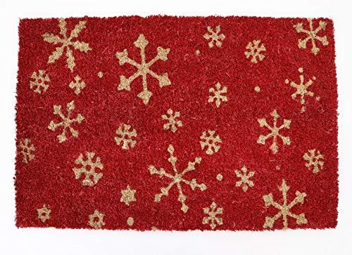 heimtexland ® Kokos Fussmatte Outdoor 40x60 cm Schneeflocken rot Natur Winter Weihnachten Tür Fußabtreter Fußabstreifer Türmatte außen Kokosmatte Typ607