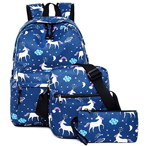 Unicornio Colegio Mochila para niñas,Bolsos escolares para niños Mochila para Adolescentes de Regreso a la Escuela(Paquete de 3)(Azul)