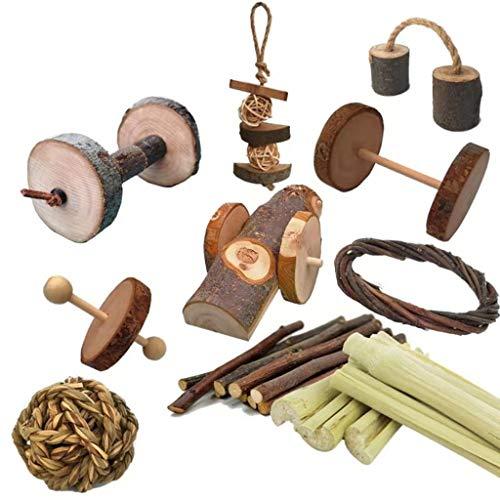 Juego de 10 piezas – Conejito de conejo de madera natural para masticar juguetes de ejercicio molar dientes molares cuidado para jerbos, ratas, pájaros pequeños accesorios para jaula de mascotas