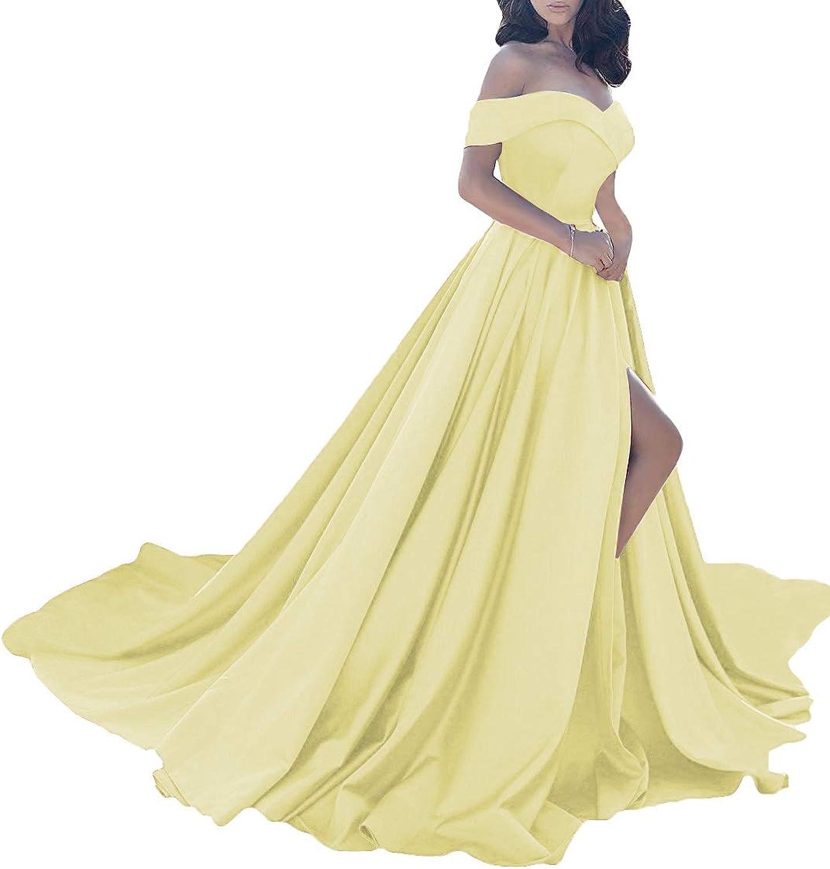MorySong Women Elegant Off The Shoulder Prom Dress Side Split Long Evening Gown