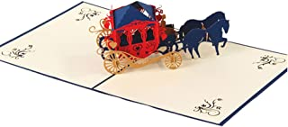 Creative 3D Greeting Card Handmade Paper Carved Hollow Birthday Wedding Carriage Valentine's Day Blue