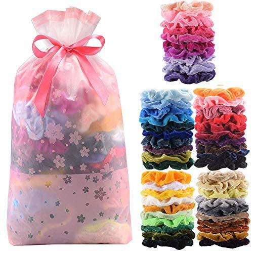 Cozywind 50pcs Gomas de Pelo de Terciopelo Scrunchies, Banda Multicolores Elásticas para Pelo, para Mujeres, Niñas