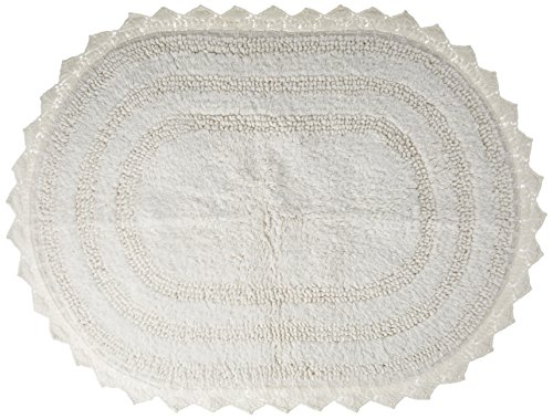 DII Ultra Soft Spa Cotton Crochet Oval Bath Mat or Rug Place in Front of Shower, Vanity, Bath Tub, Sink, and Toilet, 17 x 24' - White